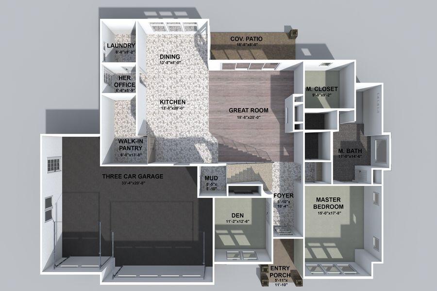 Dom z dwiema opowieściami 1 royalty-free 3d model - Preview no. 2
