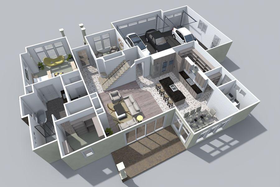 Dom z dwiema opowieściami 1 royalty-free 3d model - Preview no. 7