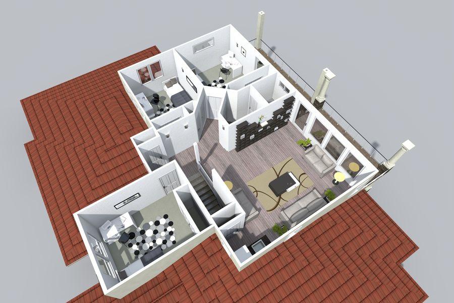 Dom z dwiema opowieściami 1 royalty-free 3d model - Preview no. 9
