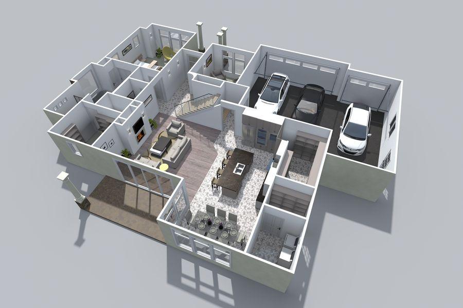 Dom z dwiema opowieściami 1 royalty-free 3d model - Preview no. 6