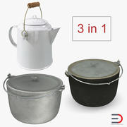 Camping Pots Collection 3d model