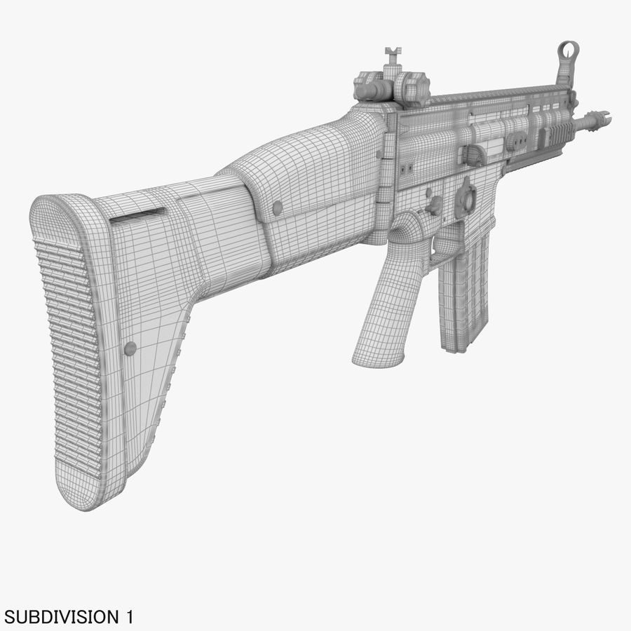 Assault Rifle SCAR royalty-free 3d model - Preview no. 27