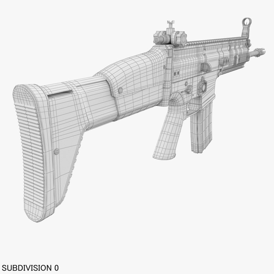 Assault Rifle SCAR royalty-free 3d model - Preview no. 24