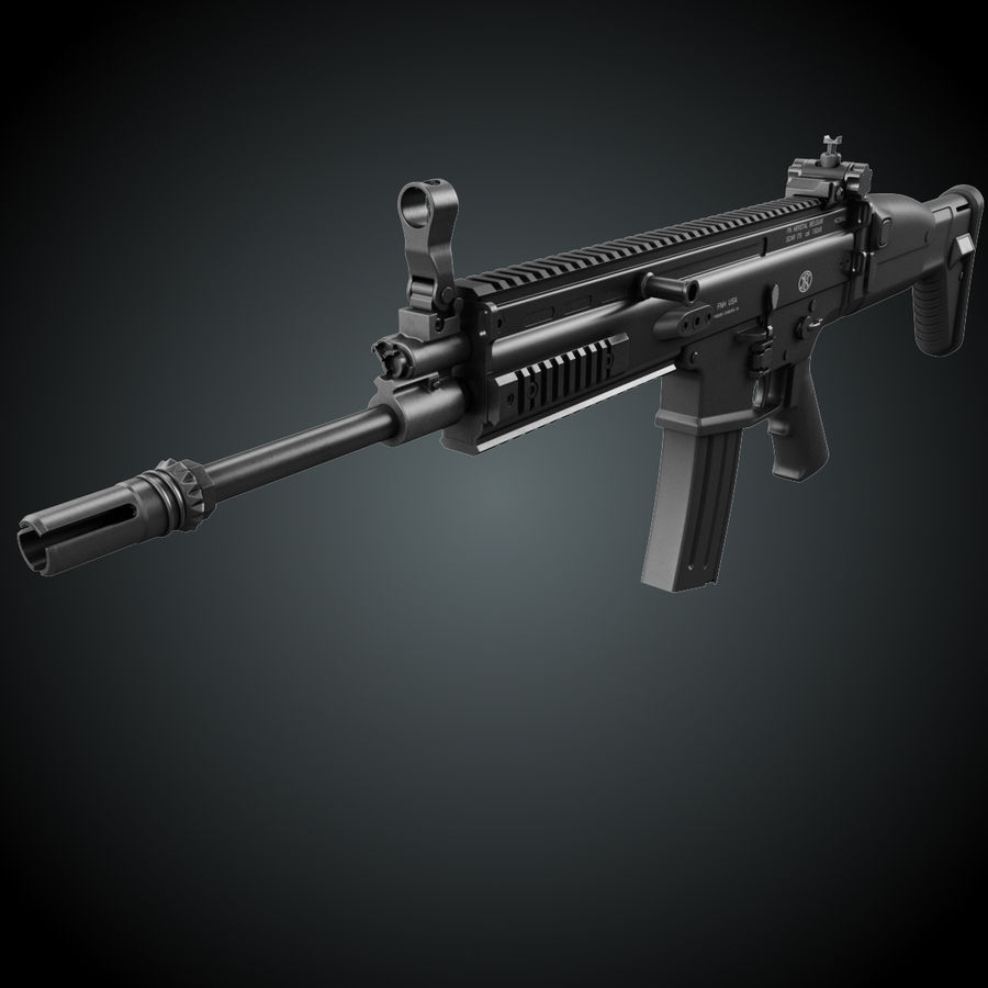 Assault Rifle SCAR royalty-free 3d model - Preview no. 2
