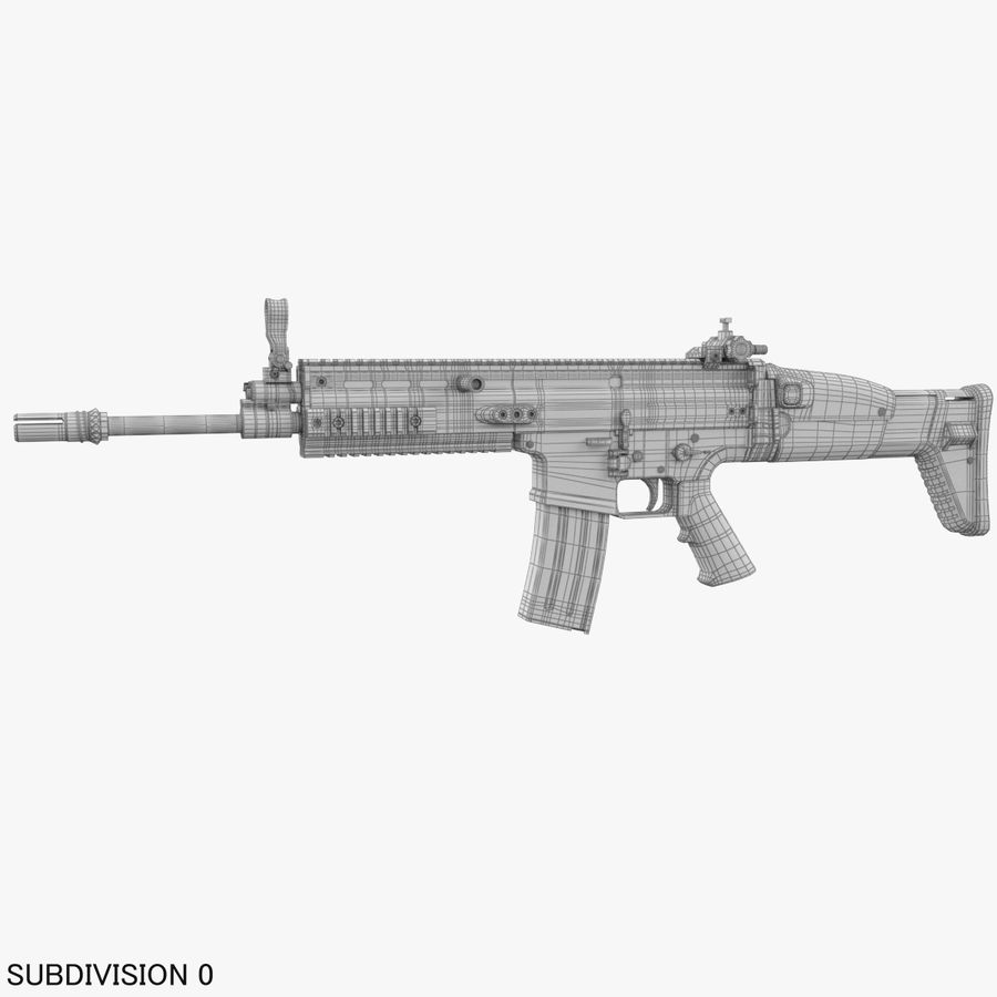 Assault Rifle SCAR royalty-free 3d model - Preview no. 23