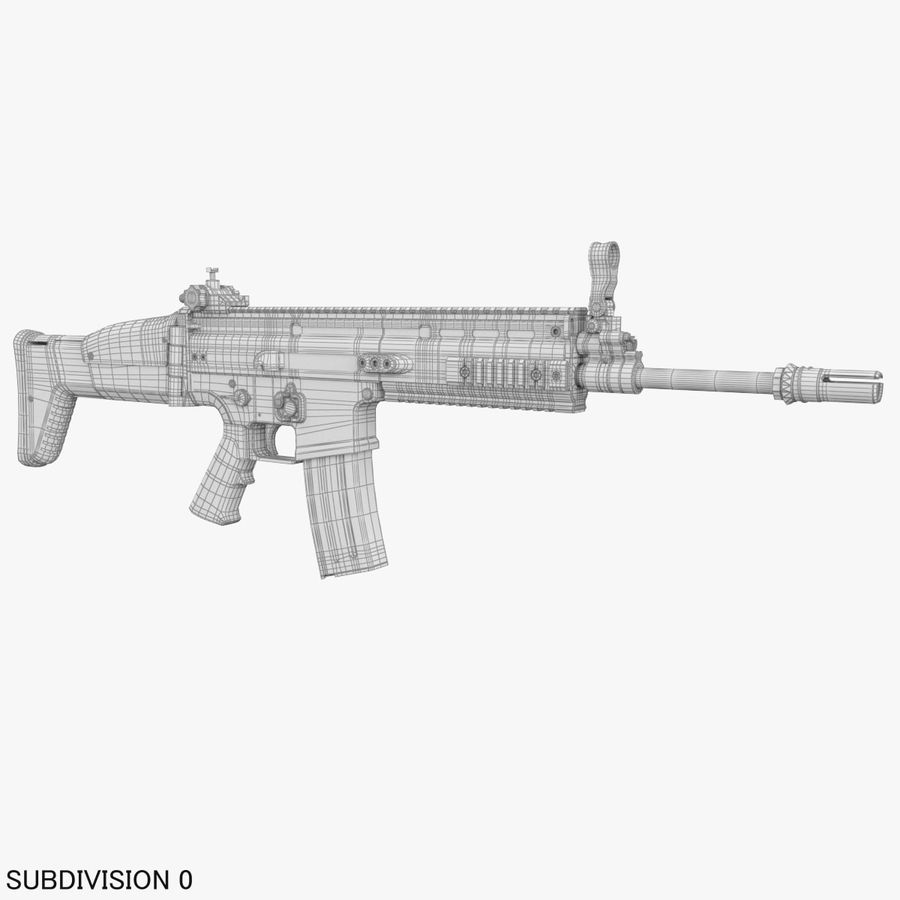 Assault Rifle SCAR royalty-free 3d model - Preview no. 22