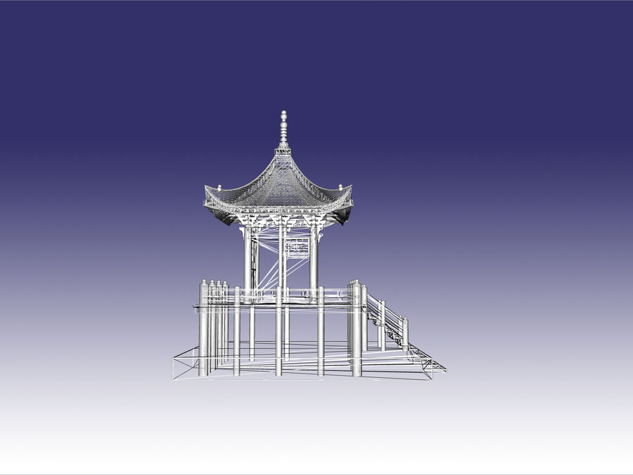 Japanisches Teehaus royalty-free 3d model - Preview no. 1