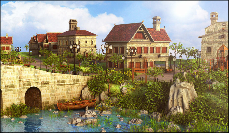 Small Village royalty-free 3d model - Preview no. 3