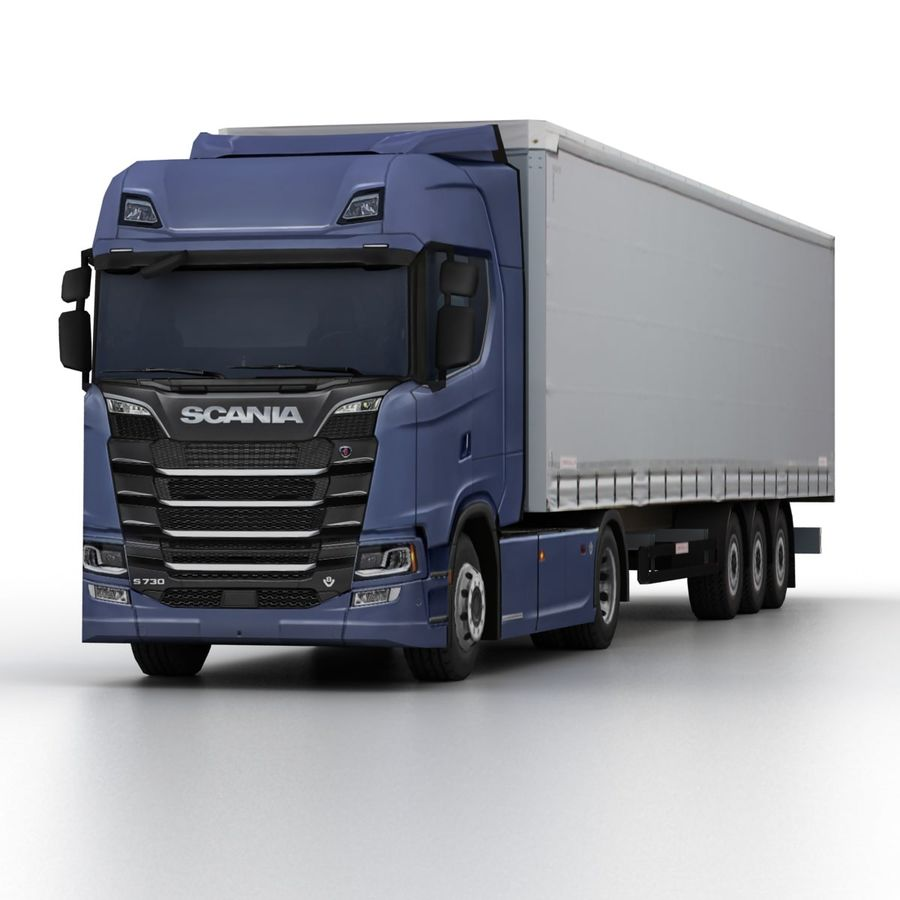 Scania S 730 2016 cargo box royalty-free 3d model - Preview no. 6