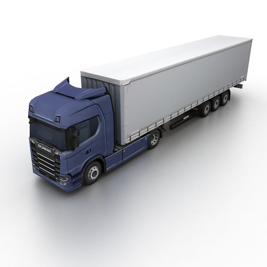 Scania S 730 2016 cargo box royalty-free 3d model - Preview no. 1