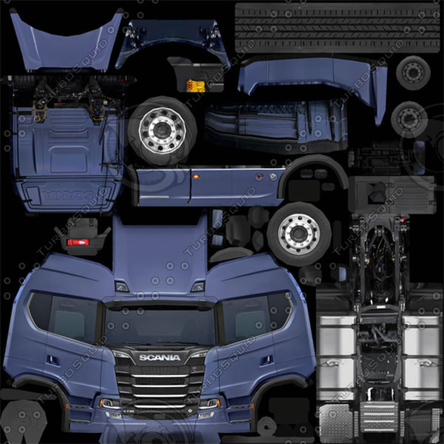 Scania S 730 2016 cargo box royalty-free 3d model - Preview no. 14