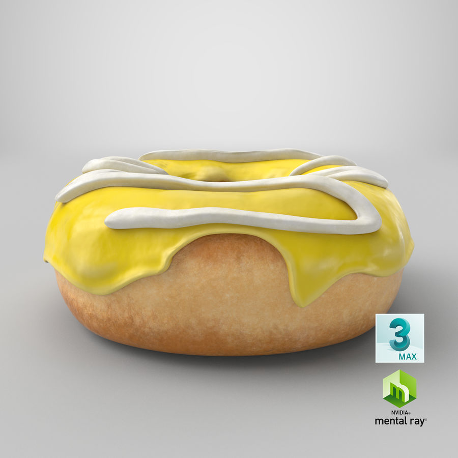 Donut 05 - Yellow royalty-free 3d model - Preview no. 24