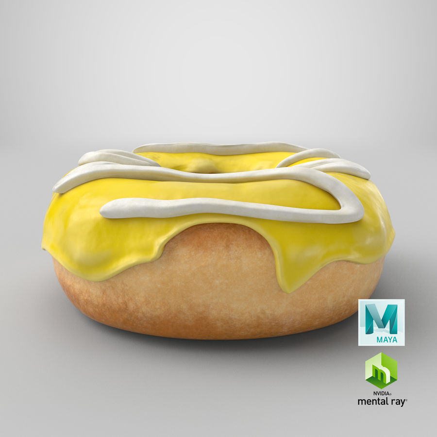 Donut 05 - Yellow royalty-free 3d model - Preview no. 22