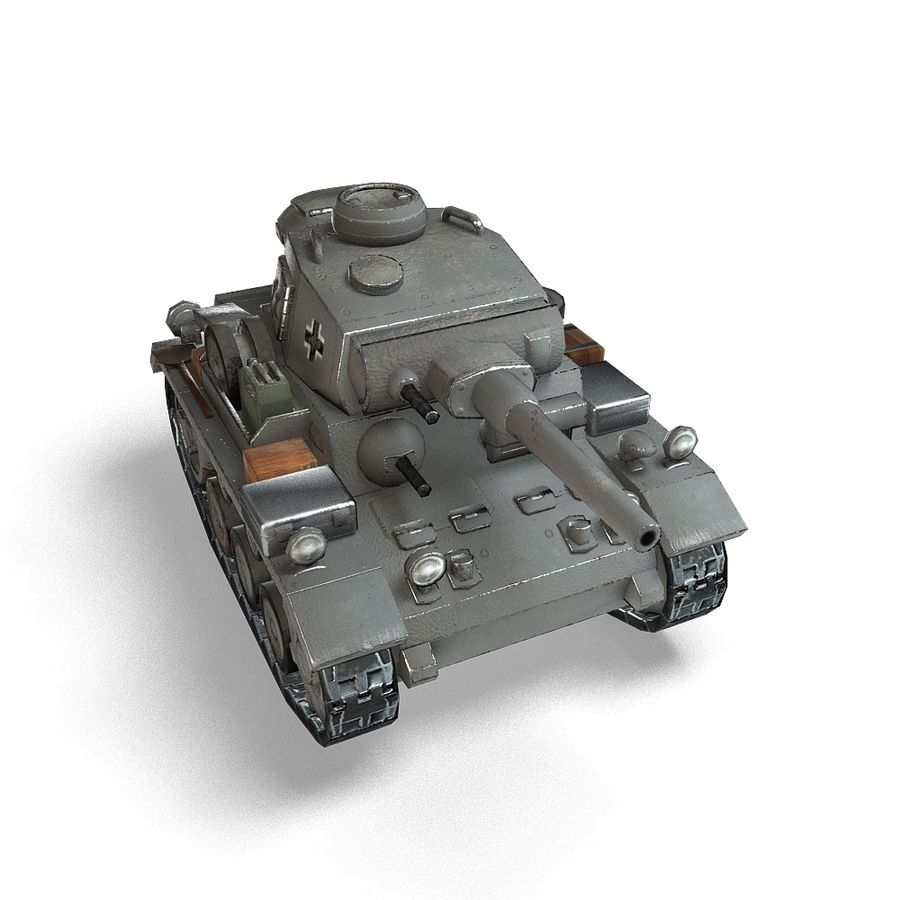 Cartoon Panzer III royalty-free 3d model - Preview no. 14