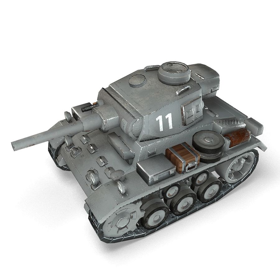 Cartoon Panzer III royalty-free 3d model - Preview no. 9