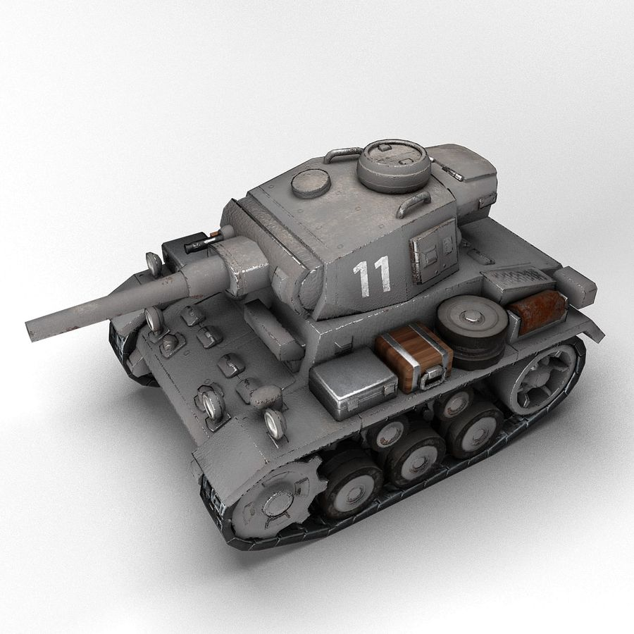 Cartoon Panzer III royalty-free 3d model - Preview no. 2