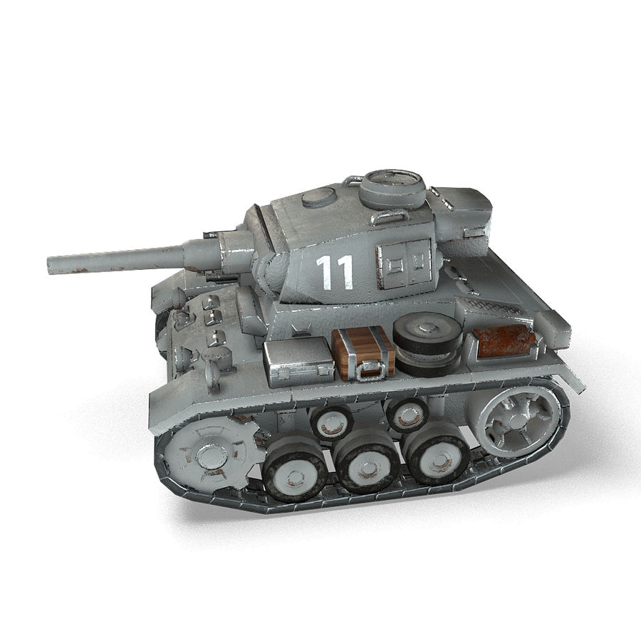 Cartoon Panzer III royalty-free 3d model - Preview no. 10
