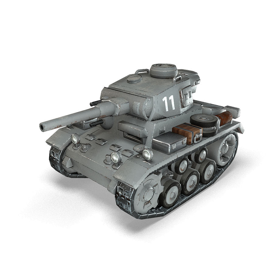 Cartoon Panzer III royalty-free 3d model - Preview no. 3