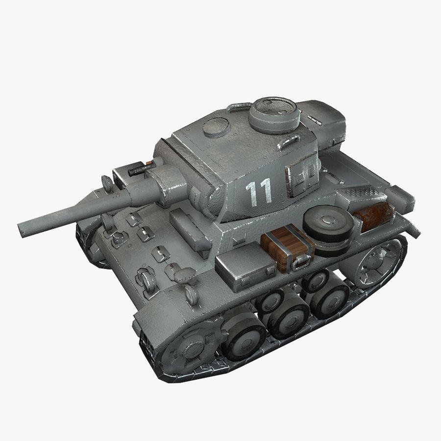 Cartoon Panzer III royalty-free 3d model - Preview no. 1