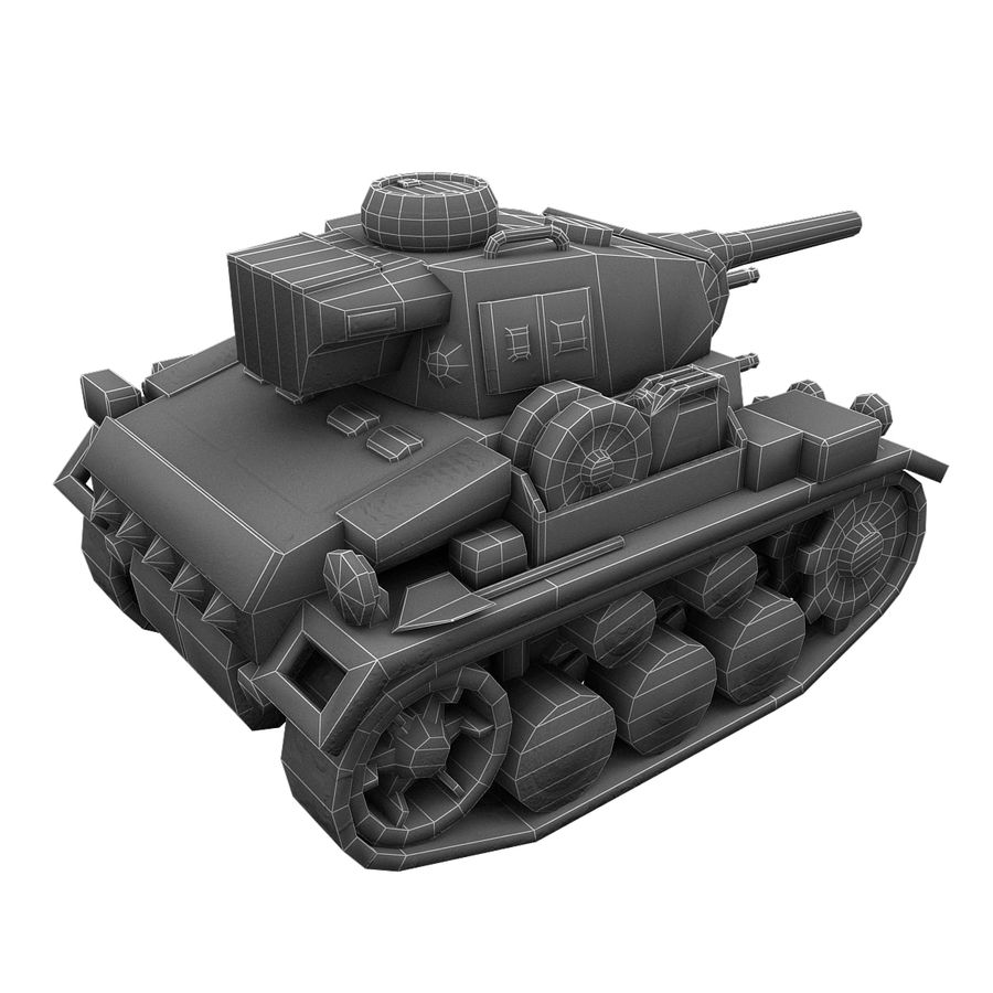 Cartoon Panzer III royalty-free 3d model - Preview no. 17