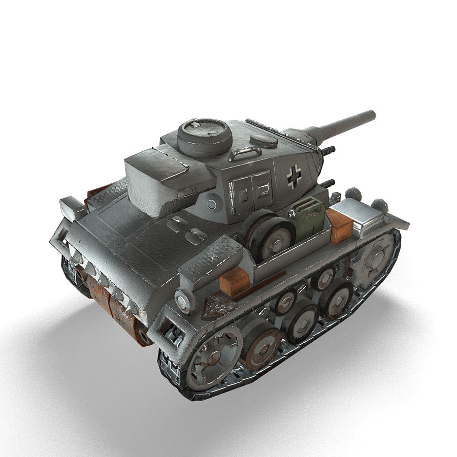 Cartoon Panzer III royalty-free 3d model - Preview no. 12