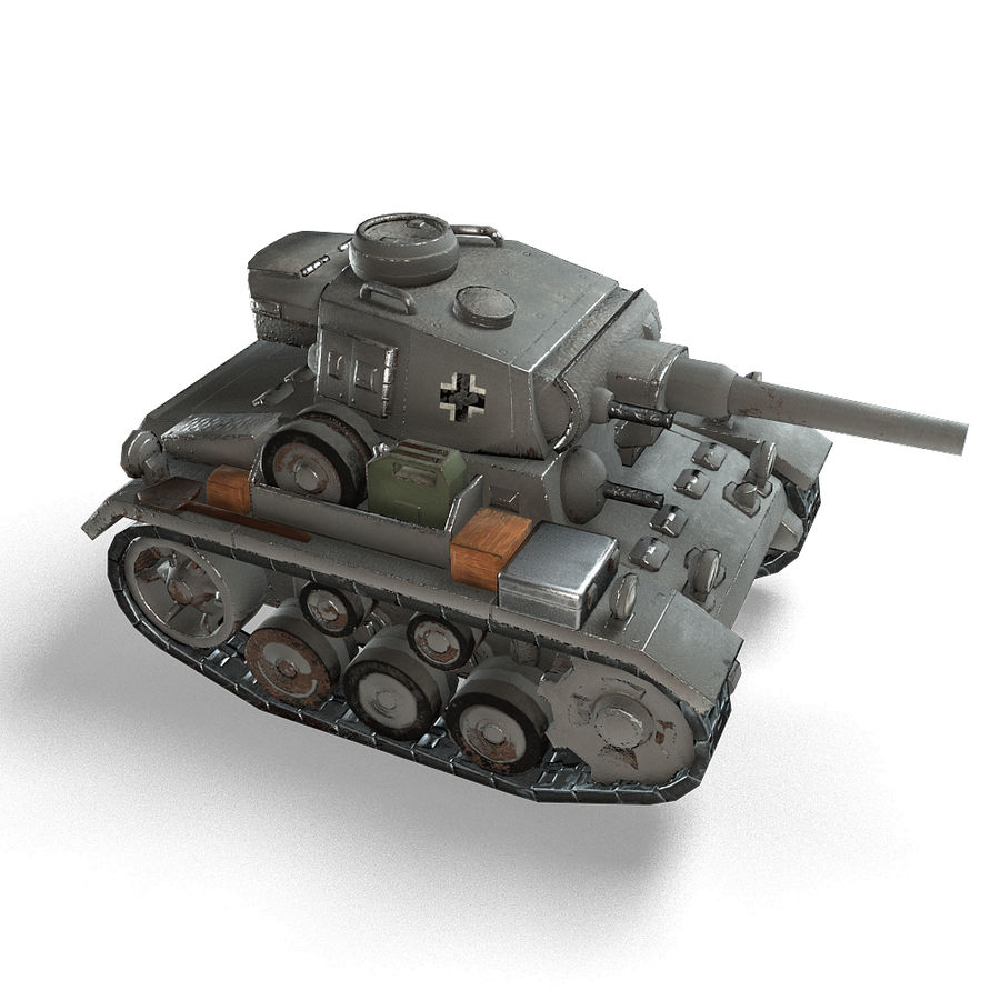Cartoon Panzer III royalty-free 3d model - Preview no. 7
