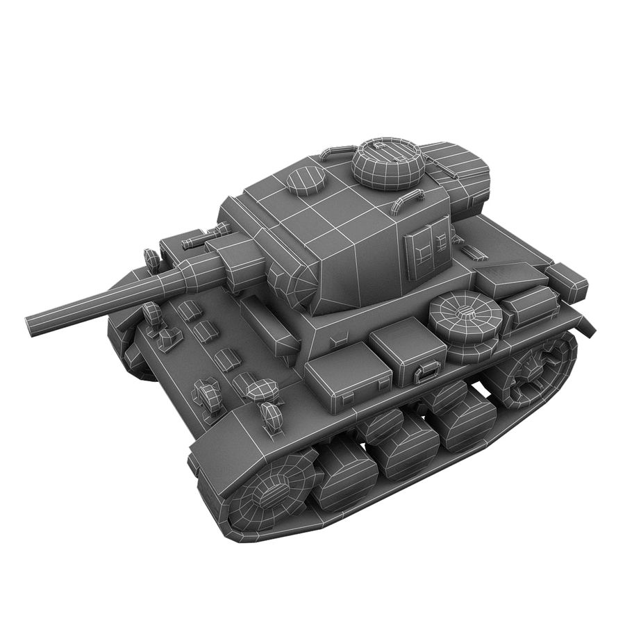 Cartoon Panzer III royalty-free 3d model - Preview no. 16