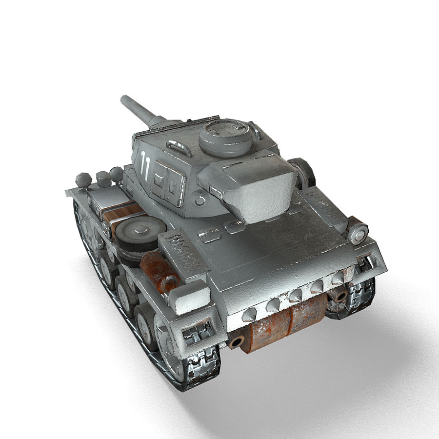 Cartoon Panzer III royalty-free 3d model - Preview no. 11