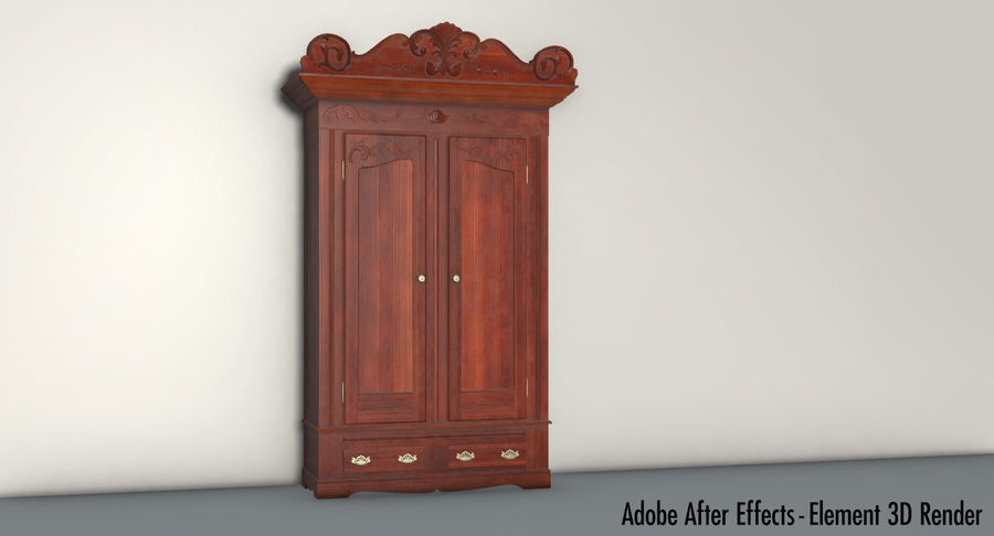 Antique Wardrobe royalty-free 3d model - Preview no. 26