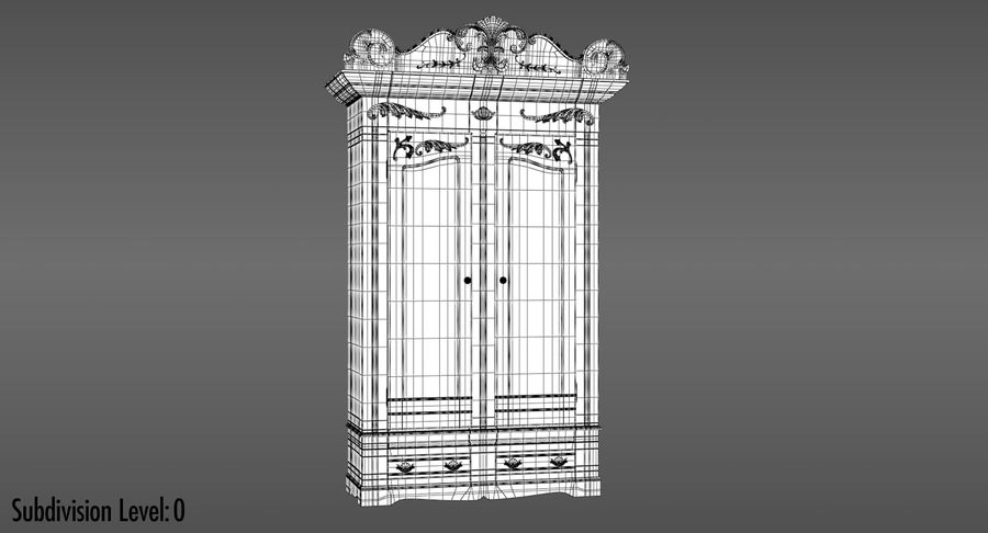 Antique Wardrobe royalty-free 3d model - Preview no. 14