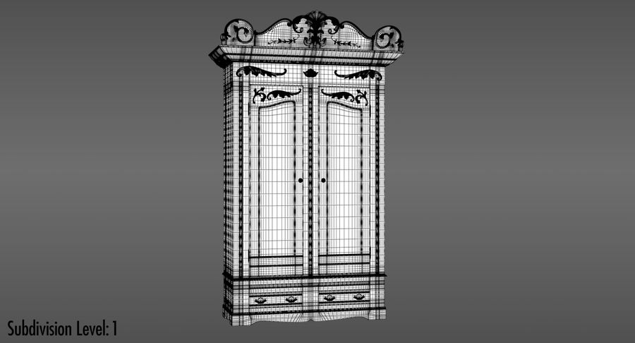 Antique Wardrobe royalty-free 3d model - Preview no. 13