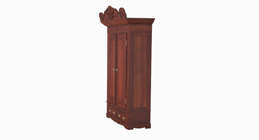 Antique Wardrobe royalty-free 3d model - Preview no. 4
