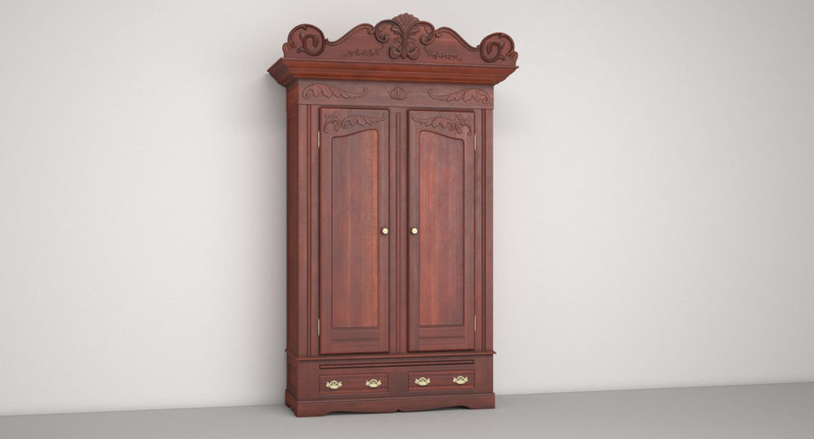 Antique Wardrobe royalty-free 3d model - Preview no. 3