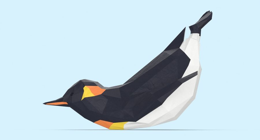 Penguin  Jumping royalty-free 3d model - Preview no. 7