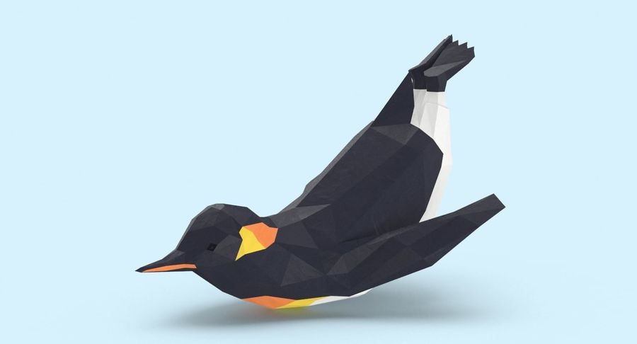 Penguin  Jumping royalty-free 3d model - Preview no. 3