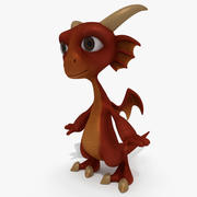 Dessin animé dragon bébé rouge 3d model