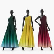 Robes sur les mannequins féminins 3d model