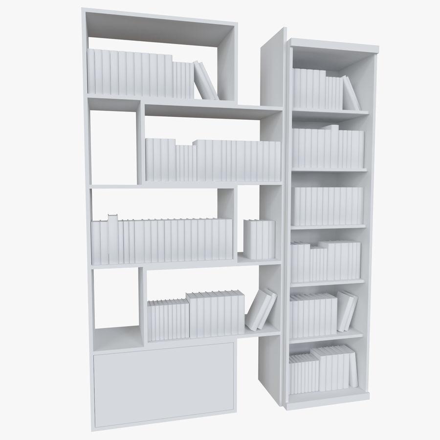 Книжные полки с книгами royalty-free 3d model - Preview no. 3