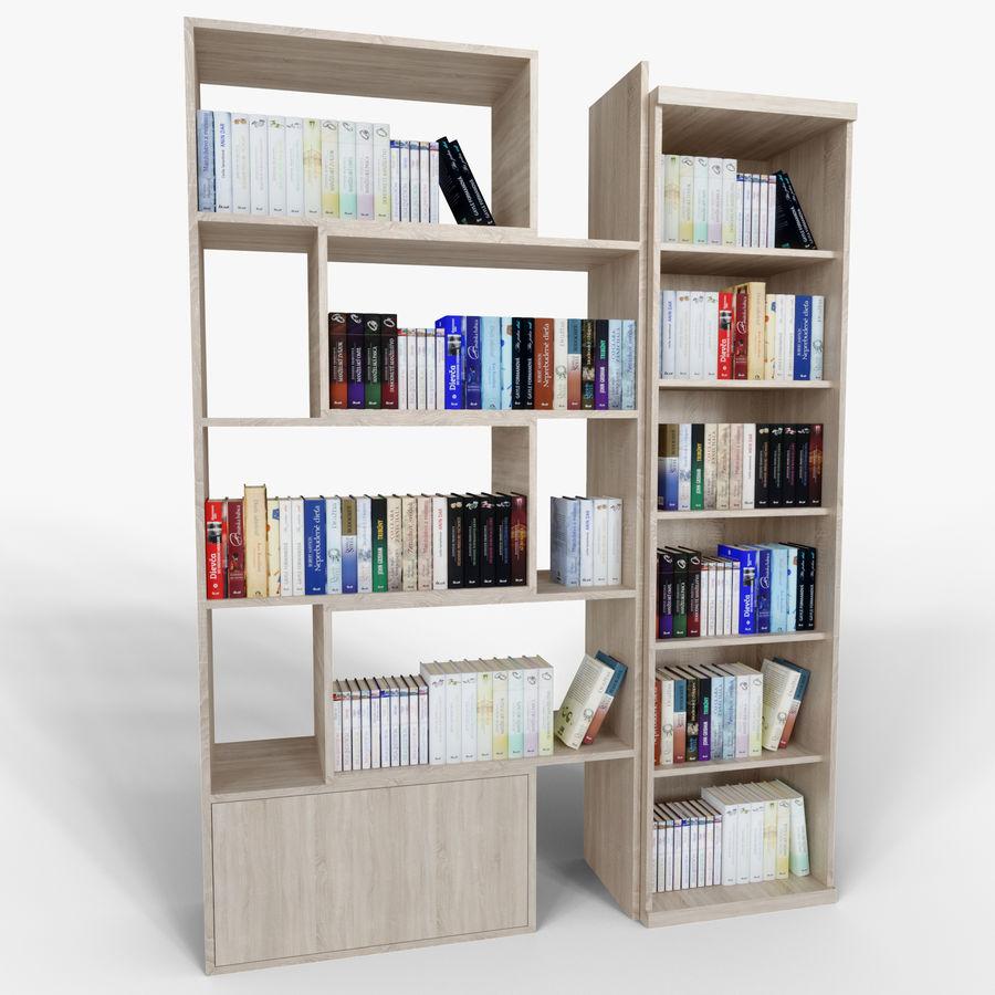 Книжные полки с книгами royalty-free 3d model - Preview no. 2