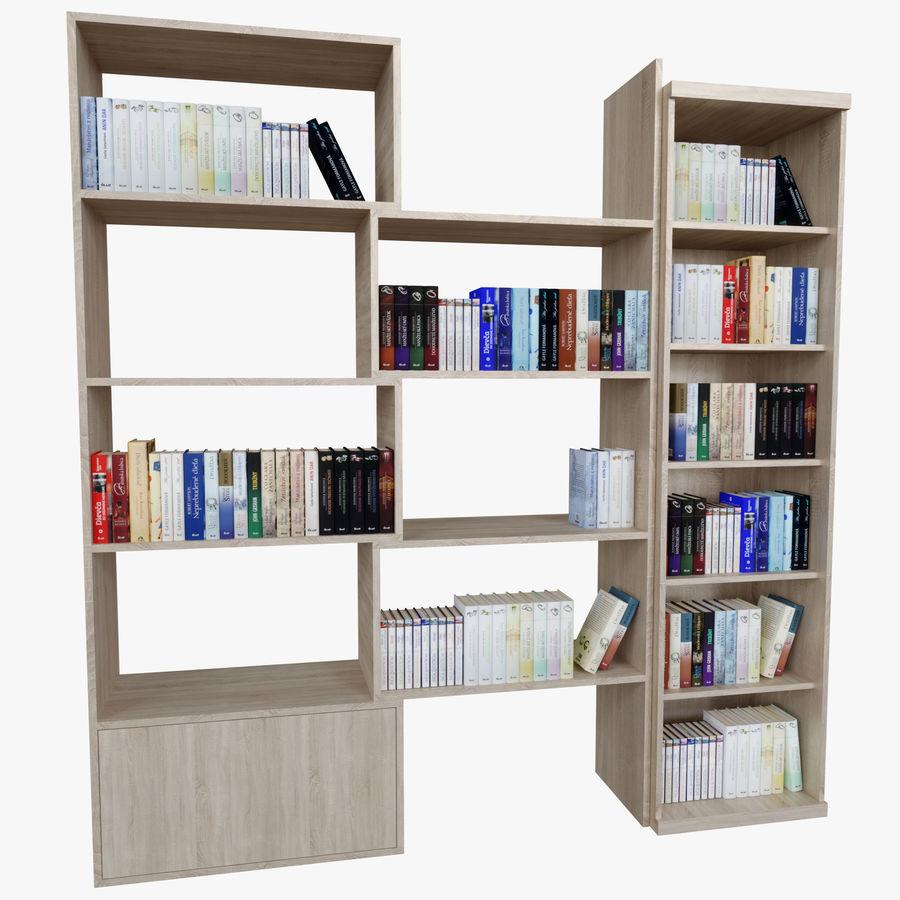 Книжные полки с книгами royalty-free 3d model - Preview no. 6