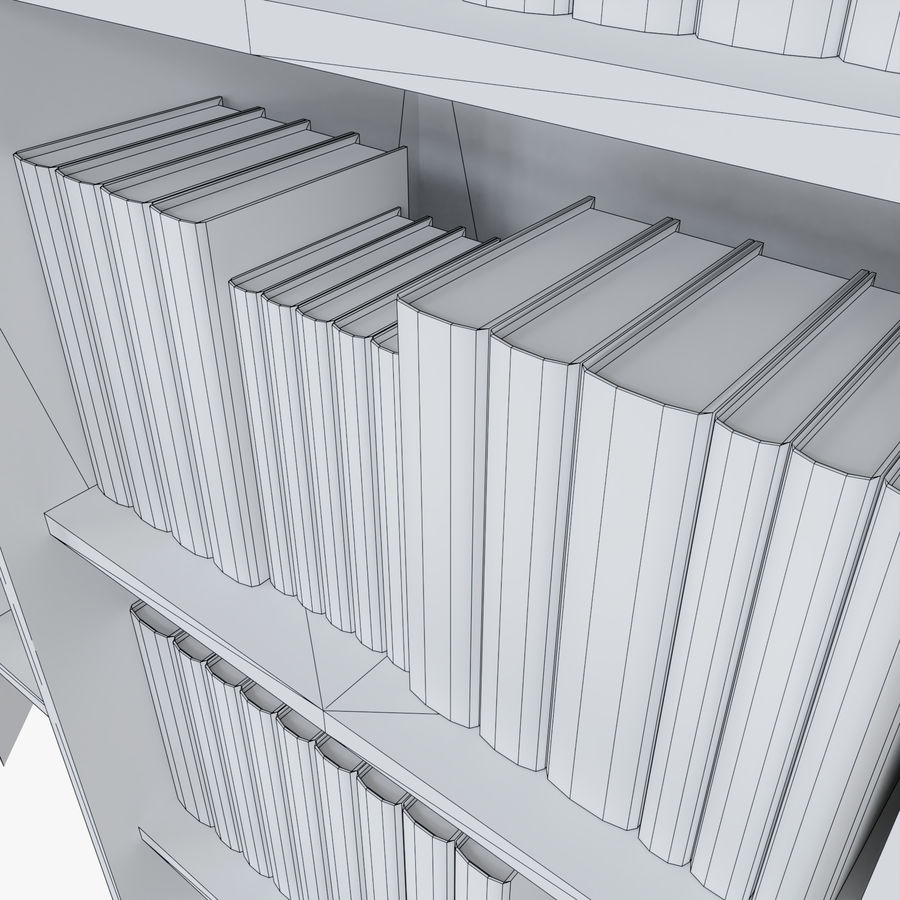 Книжные полки с книгами royalty-free 3d model - Preview no. 10