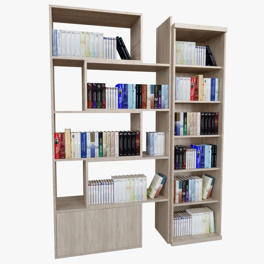 Книжные полки с книгами royalty-free 3d model - Preview no. 1