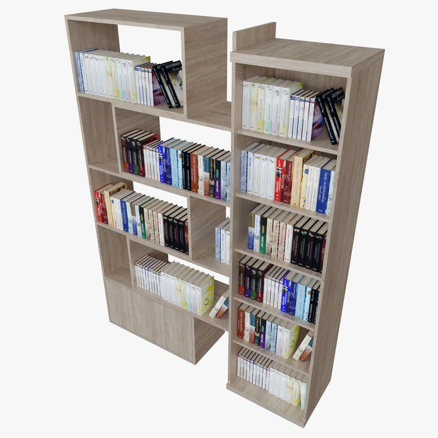 Книжные полки с книгами royalty-free 3d model - Preview no. 7