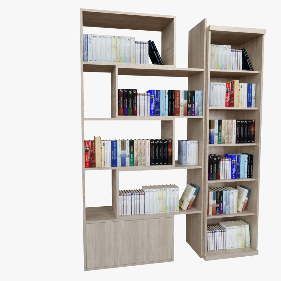 Книжные полки с книгами royalty-free 3d model - Preview no. 5