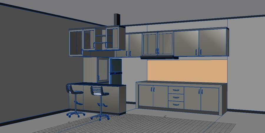 Furniture Kitchen Set royalty-free 3d model - Preview no. 2