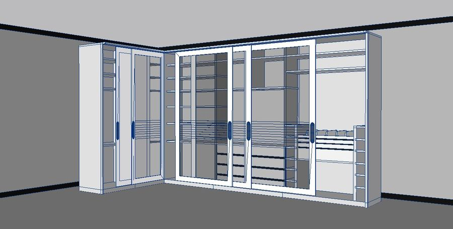 Furniture storage cabinet royalty-free 3d model - Preview no. 2