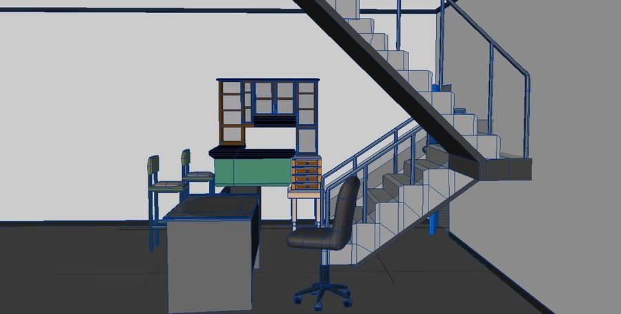Gabinetes de escritorio de muebles royalty-free modelo 3d - Preview no. 4