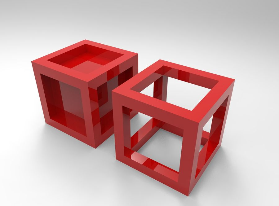 Framed box cube royalty-free 3d model - Preview no. 1