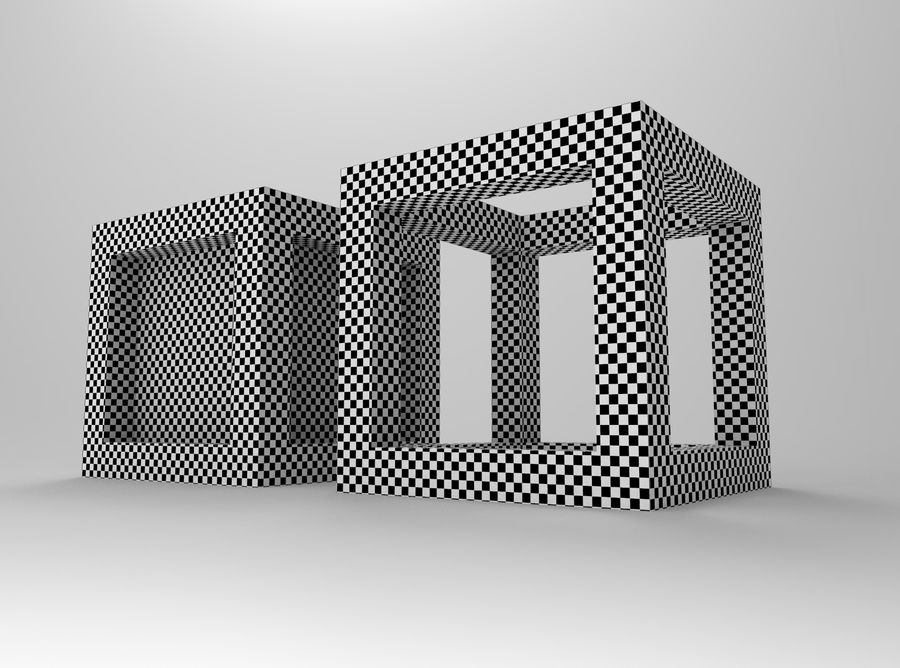 Cubo scatola incorniciato royalty-free 3d model - Preview no. 7