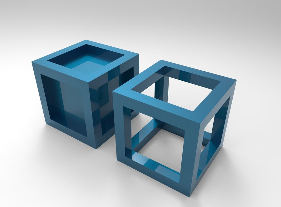 Cubo scatola incorniciato royalty-free 3d model - Preview no. 3